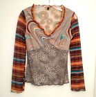 Multi Color Striped Animal Print Psychedelic Size 1 Small V Neck Long Sleeve Top