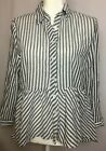 Love Notes Womens Cotton Striped Peplum Button Front Shirt Top Size M