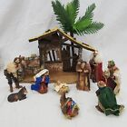 THE SAN FRANCISCO MUSIC BOX COMPANY Fabric Mache NATIVITY SET Cantique Noel