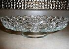 Vintage Crocheted Open Lace Looped Edge Clear Glass Footed Pedestal Cake Stand