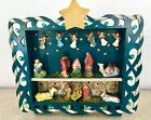 CHARMING ARTIST CRAFTED NATIVITY SCENE VINTAGE FIGURES  TEAL WOOD ASSEMBLAGE