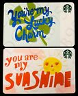 NEW 2019 Starbucks YOU ARE MY SUNSHINE  LUCKY CHARM Gift Card Lot of 2 Cards