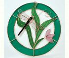 Stained Glass Small Dragonfly Blue Circle Frame Window Panel GE119