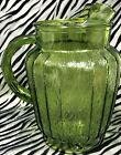 1 Anchor Hocking SPRUCEWOOD GREEN (Avocado) Pressed Glass Pitcher w/Ice Lip