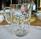 Vintage White Asian Cherry Blossoms Glass Pitcher ~