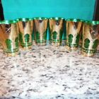 6 VINTAGE GREEN WITH GOLD DESIGN DRINKING/COCKTAIL  GLASSES