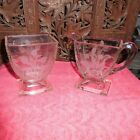 BEAUTIFUL ANTIQUE CLEAR GLASS SUGAR AND CREAMER WITH GREAT ETCHED DESIGN