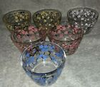 6 Vintage Pink Blue Yellow Cherry Blossom Glass Dessert Bowl Cups~Hazel Atlas?