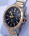 BULGARI BVLGARI Chronograph 41mm bb41bspgdch Two Tone 18K Rose Gold/SS *MINT*