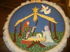 Vtg Large 23 Heavy Duty Round Wooden Quilting XMAS NATIVITY SCENE Sewing Hoop