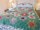 Hexagon Flowering Garden Vintage Quilt Double Sided Handmade Pieced 55x84