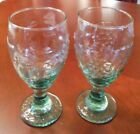 LIBBEY's Orchard Fruit Grapes/Pears Green Glass Goblets SET of 2