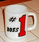 VINTAGE FIRE KING MILK GLASS MUG #1 BOSS  4 1/2