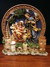 Lighted Nativity scene plate display