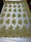 Heavy Glass Beaded Embroidery Mesh Lace Fabric Floral Design By The Yard GOLD