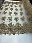 Heavy Glass Beaded Embroidery Mesh Lace Fabric Floral Design By Yard Taupe Gold