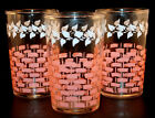 3 Vintage Federal Glass Pink Lattice Basketweave White Ivy 3.5