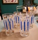 4 Mid Century Blue Gold Frosted White Highball Glasses Barware Cocktail Drink