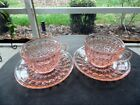 Lot 2 Jeanette Holiday Buttons and Bows Pink Depression Glass Cup and Saucer Set