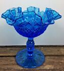 Vintage Fenton OVG Stemmed Ruffled Crimped Candy Dish Cobalt Blue Glass Compote