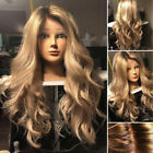 Full Side Lace Golden Sexy Club Cocktail Long Ombre Wig Women Blonde Finger Wave
