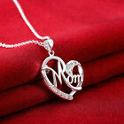 925 Sterling Silver CZ Love Mom Heart Pendant Link Chain Necklace Mom Heart