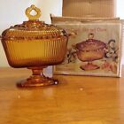 Indiana Glass Amber Oblong Candy Box and Cover Filigree Edge (1351)