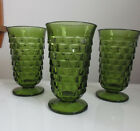 3 VTG INDIANA WHITEHALL COLONY GREEN CUBE DESIGN FOOTED 6