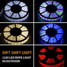 50 100 150FT LED Rope Light Strip Indoor Outdoor Waterproof Decorative Lights