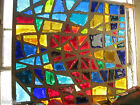 Heavy Dalle De Verre Large Stained Glass 1959 Abstract Bright Vivid Colors