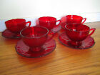 Rare Anchor Hocking Ruby Red Depression Glass 10 PC 1940s Set of 5 Cups