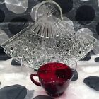 Button Fan Plates w/Royal Ruby Cups Snack Sets