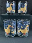 4 RARE GEORGES BRIARD DUCKS IN RAIN DOUBLE OLD FASHION GLASSES SIGNED