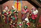 NATIVITY SCENE Wood with Ceramic Figurines HAND MADE  PAINTED 18 x 14 x 7