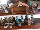 1976 Large 16 pc Ceramic Nativity Scene Set Metalic Paint Alantic Mold