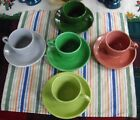 Vintage Fiesta Tea Cups + ~50's Colors~ Rose Gray Chartreuse Medium Green Forest