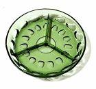 Green Glass Thumbprint Divided Dish 3-Part Excellent Condition Free Shipping