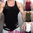 USA Men's Gym Bodybuliding Ripped Tank Tops Muscle T Shirt Round Neck Tee Vest