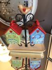 Birdhouse Salt  Pepper Shakers with Holder by Valerie Parr Hill