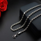 Hot man women 316L Stainless Steel 2mm 3mm 4mm 5mm Silver Rope Chain Necklace