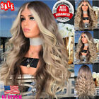 28'' Long Wavy Brown Gold Ombre Wig Hair Rose Net Heat Resistant Synthetic Wig