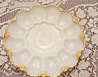 Vintage Anchor Hocking Fire King Opaque Milk Glass Deviled Egg Platter Dish