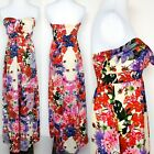 URBAN HEARTS Womens Small Strapless Long Floral Tropical Summer Dress