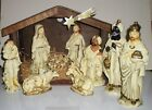 LG VINTAGE CHRISTMAS JAPAN PAPER MACHE NATIVITY FIGURES 10 PC WOOD STABLE MUSIC