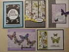 5 Handmade GREETING Cards Stampin Up BOTANICAL BUTTERFLY DSP Just Because