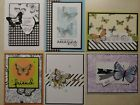 6 Handmade GREETING Cards Stampin Up BOTANICAL BUTTERFLY DSP Various sentiment
