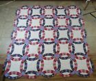 VTG Double Wedding Ring Patchwork Quilt 76 X 80