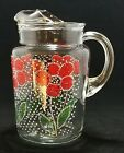 Vtg Anchor Hocking 86oz Clear Glass Pitcher with Red Daisy Quilt Patch Pattern.