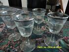 4 VINTAGE ETCHED STEMMED CORDIAL GLASSES with platinum ring at the rim