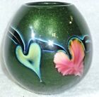 Lotton Studio Adventurine Green Art Glass Vase Signed and Dated 1997